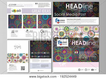 Social media posts set. Business templates. Easy editable abstract flat design template, vector layouts in popular formats. Bright color background in minimalist style made from colorful circles