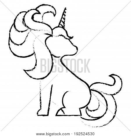 Unicorn animal horn icon vector illustration design draw