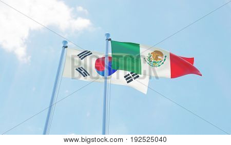 Republic of Korea and Mexico, two flags waving against blue sky. 3d image