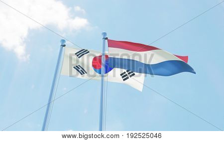 Republic of Korea and Netherlands, two flags waving against blue sky. 3d image