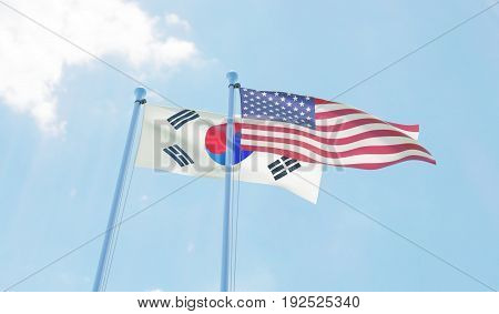 Republic of Korea and USA, two flags waving against blue sky. 3d image