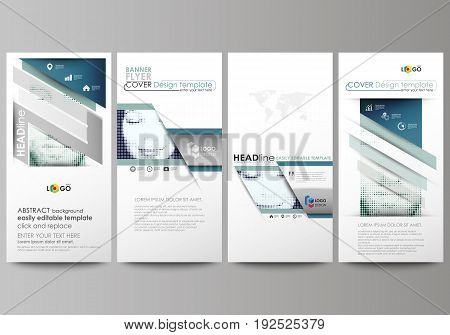 Flyers set, modern banners. Business templates. Cover design template, easy editable abstract vector layouts. Halftone dotted background, retro style grungy pattern, vintage texture. Halftone effect with black dots on white.