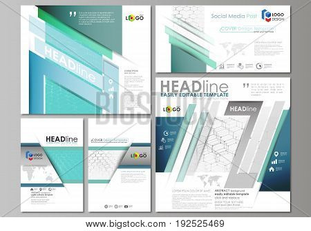 Social media posts set. Business templates. Easy editable abstract flat design template, vector layouts in popular formats. Chemistry pattern, hexagonal molecule structure on blue. Medicine, science and technology concept.