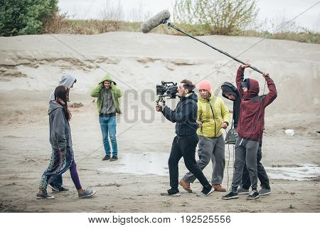 Behind The Scene. Film Crew Filming Movie Scene Outdoor