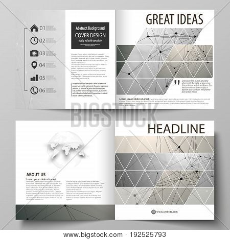 Business templates for square design bi fold brochure, magazine, flyer, booklet or annual report. Leaflet cover, abstract flat layout, easy editable vector. Chemistry pattern, molecule structure on gray background. Science and technology concept.