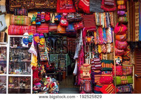 Market Stall on Sagarnaga street in La Paz Bolivia