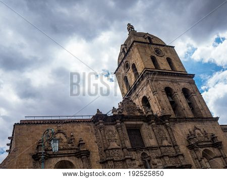 San Francisco Church in La Paz Bolivia. Toursit area in the city center
