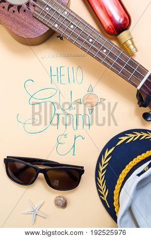Hello Summer Calligraphy Card With Seasonal Accessories