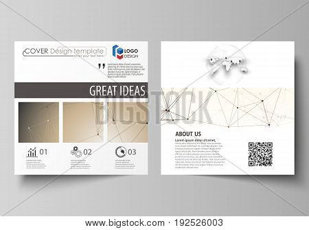 Business templates for square design brochure, magazine, flyer, booklet or annual report. Leaflet cover, abstract flat layout, easy editable vector. Technology, science, medical concept. Golden dots and lines, cybernetic digital style. Lines plexus.