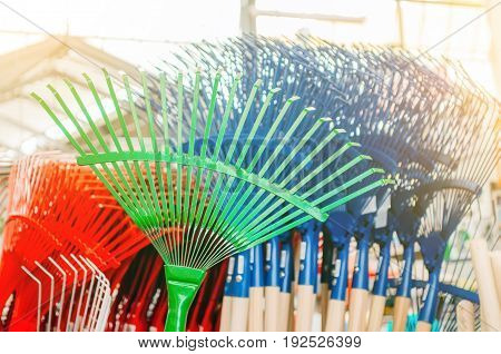 Comb rake in a shop of different colors