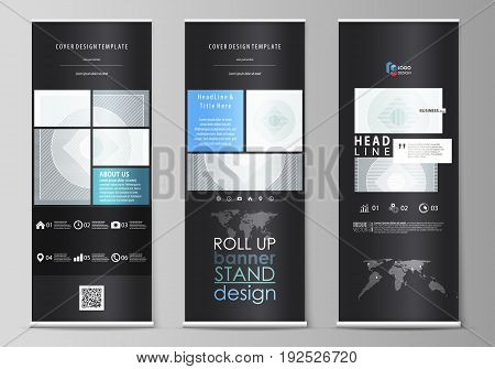 Set of roll up banner stands, flat design templates, abstract geometric style, modern business concept, corporate vertical vector flyers, flag layouts. Minimalistic background with lines. Gray color geometric shapes forming simple beautiful pattern.