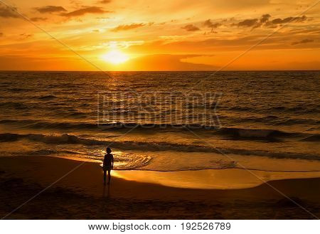 Maui Hawaii - May11 2015: Landscape with sunset skyocean and woman's silhouette on sandy beach.