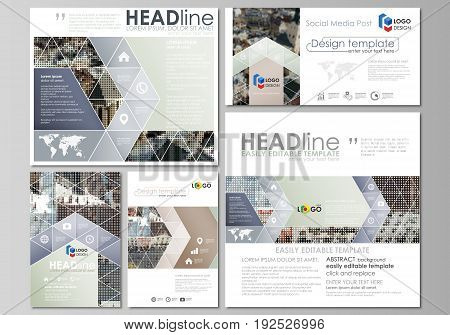 Social media posts set. Business templates. Easy editable abstract flat design template, vector layouts in popular formats. Colorful background made of dotted texture for travel business, urban cityscape.