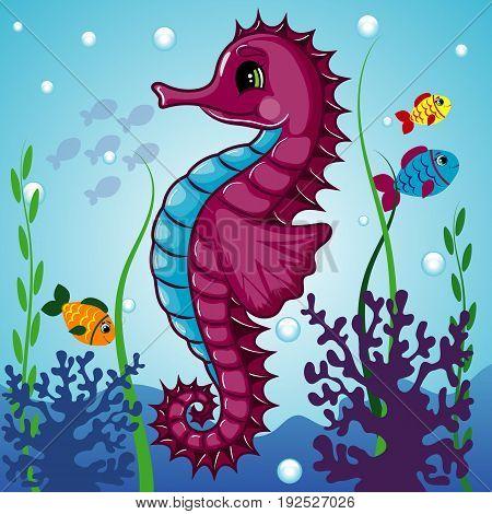 Seahorse Character, Underwater, Cartoon Hand Drawn Vector Illustration EPS 10