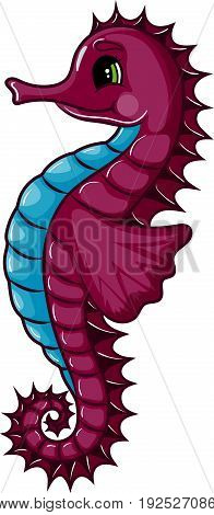 Seahorse Character on White Background, Cartoon Hand Drawn Vector Illustration EPS 10