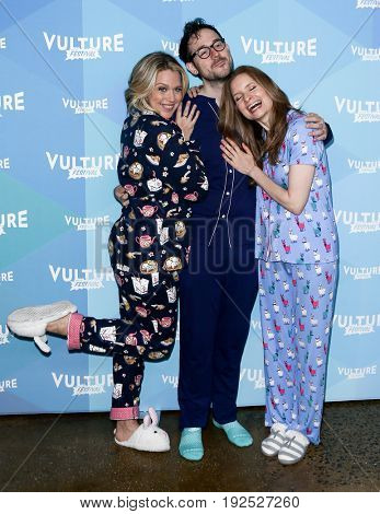 NEW YORK-MAY 21: (L-R) Actors Jessica St Clair, Jesse David Fox and Lennon Parham attend 'Playing House Pajama Brunch' during 2017 Vulture Festival at Milk Studios on May 21, 2017 in New York City.