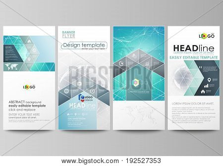 The minimalistic abstract vector illustration of the editable layout of four modern vertical banners, flyers design business templates. Chemistry pattern. Molecule structure. Medical, science background.