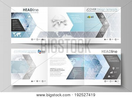 The minimalistic vector illustration of the editable layout. Two modern creative covers design templates for square brochure or flyer. Technology concept. Molecule structure, connecting background