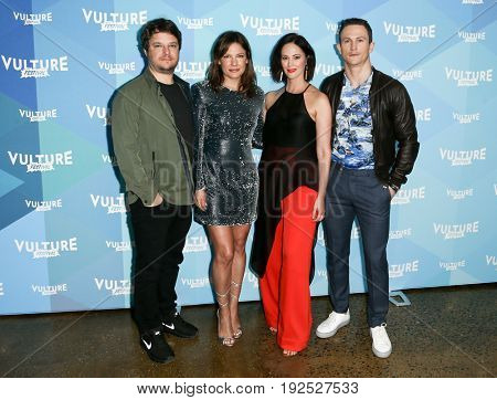 NEW YORK-MAY 21: (L-R) Actors Byron Balasco, Kiele Sanchez, Joanna Going and Jonathan Tucker attend 'Kingdom' panel during the 2017 Vulture Festival at Milk Studios on May 21, 2017 in New York City.