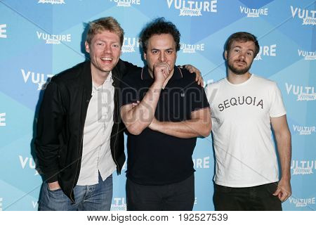 NEW YORK, NY - MAY 21: (L-R) Hayes Davenport, Todd Scharpling, Sean Clements attend the 'Hollywood Handbook' podcast during the 2017 Vulture Festival at Milk Studios on May 21, 2017 in New York City.