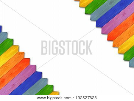 Jolly childish multicolored fence isolated on the white background. Multicolored wooden fence from colors of rainbow. Wooden pattern in the corners. Empty place for text