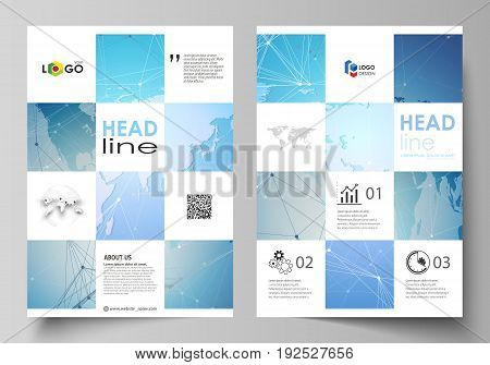 The vector illustration of the editable layout of A4 format covers design templates for brochure, magazine, flyer, booklet, report. World map on blue, geometric technology design, polygonal texture