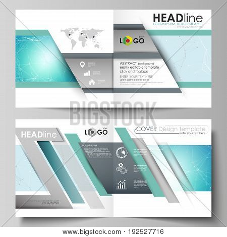 The vector illustration of the editable layout of two covers templates for square design bi fold brochure, magazine, flyer, booklet. Futuristic high tech background, dig data technology concept