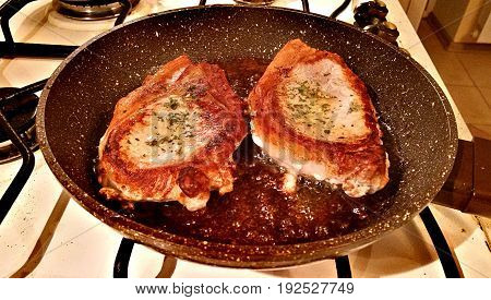 Pork Steaks In A Pan