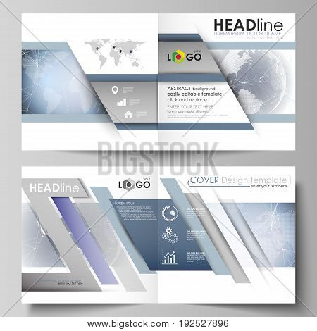 The vector illustration of the editable layout of two covers templates for square design bi fold brochure, magazine, flyer, booklet. Abstract futuristic network shapes. High tech background