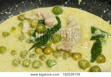Thai Spicy Green Curry with Green Eggplant Chicken and Coconut Milk One of The Most Famous Curry Recipes in The World.