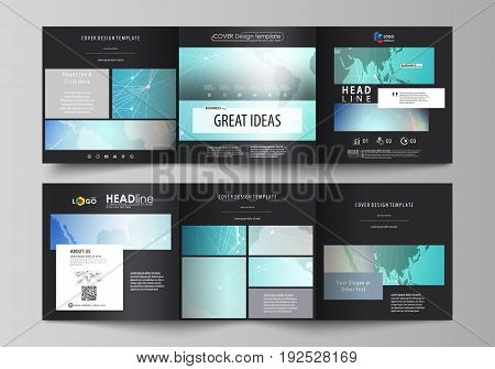 The black colored minimalistic vector illustration of the editable layout. Two creative covers design templates for square brochure. Molecule structure, connecting lines and dots. Technology concept