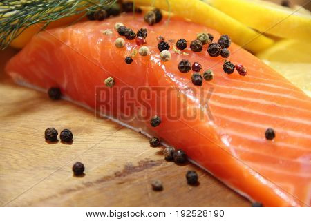 Salmon raw lemon delicious appetizing refreshment cook