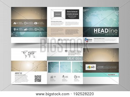 The abstract minimalistic vector illustration of the editable layout. Two creative covers design templates for square brochure. Chemistry pattern with molecule structure. Medical DNA research