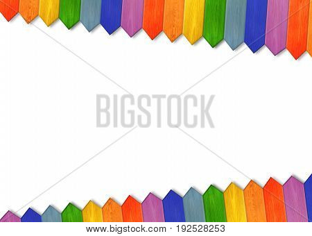 Jolly childish multicolored fence isolated on the white background. Multicolored wooden fence from colors of rainbow. Wooden pattern in the corners