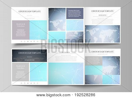 The abstract minimalistic vector illustration of the editable layout. Two creative covers design templates for square brochure. Polygonal texture. Global connections, futuristic geometric concept