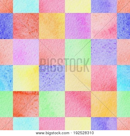 seamless abstract colorful watercolor squares background for design