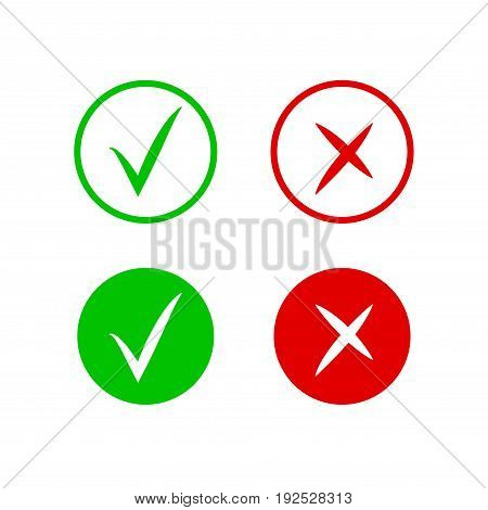 Check and cross mark icons. Vector symbol of yes and no. Isolated sign approved, choice checkmark.