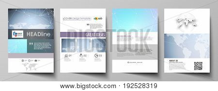 The vector illustration of the editable layout of A4 format covers design templates for brochure, magazine, flyer, booklet, report. Polygonal texture. Global connections, futuristic geometric concept