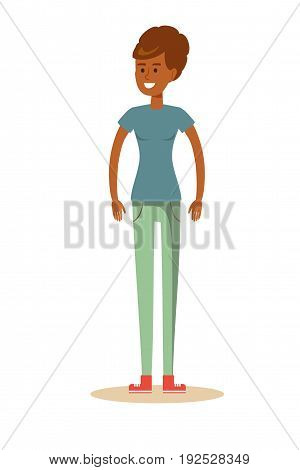 cute cartoon African-American woman . Stock vector illustration for poster, greeting card, website, ad, business presentation, advertisement design.