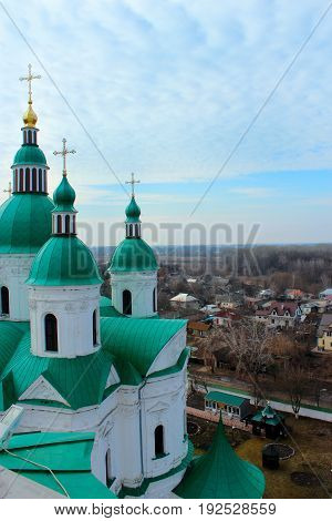 Beautiful Spaso-Preobrazhenska church with green domes in Kozelets town