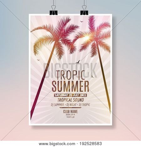 Tropic Summer Beach Party Flyer design. Poster summer vacation template.