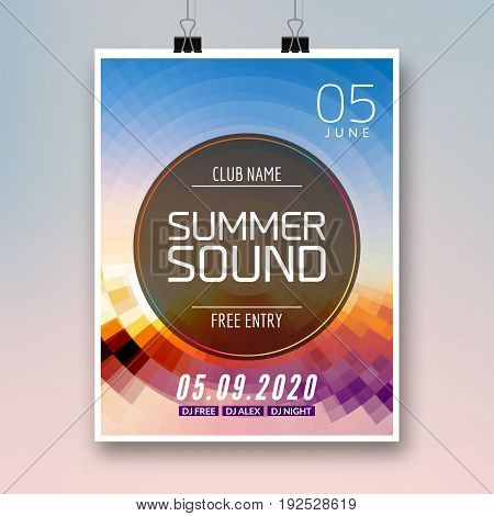 Music summer party poster graphic design. Disco dance flyer or poster template. Summer sound party event.