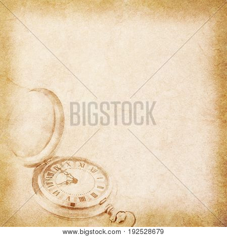 old beige vintage paper texture witn pocket watch pattern