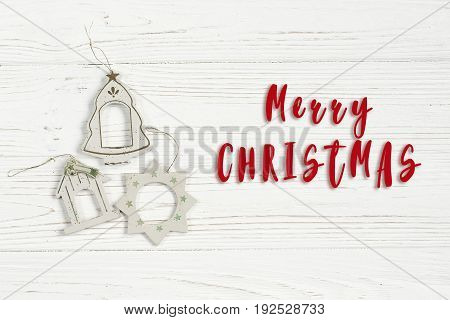 Merry Christmas Text Sign On Simple Vintage Toys On Stylish White Rustic Wooden Background. Space Fo