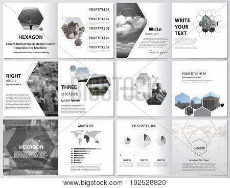 The minimalistic vector illustration of the editable layout of square design bi fold covers design templates for brochure, flyer, magazine, booklet. Abstract polygonal modern style with hexagons