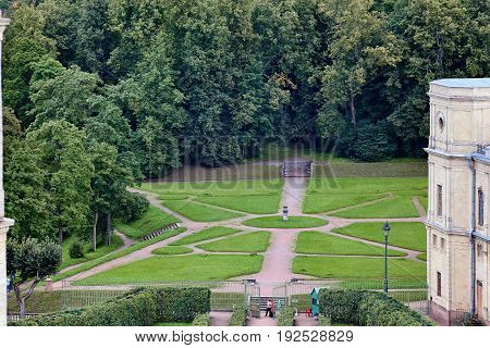 The Great Gatchina Palace. The Gatchina Palace was one of the favourite residences of the Imperial family. View from the observation deck