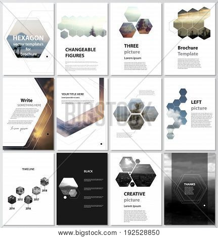 The vector illustration of the editable layout of A4 format cover design templates for brochure, magazine, flyer, booklet, report. Abstract polygonal modern style with hexagons