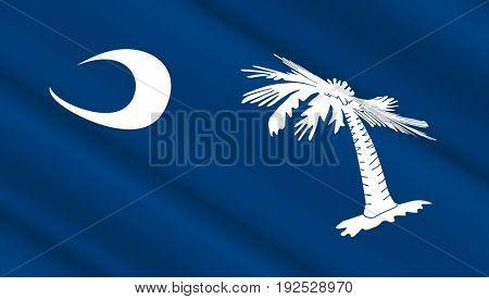 Waving flag of South Carolina state. 3D illustration.