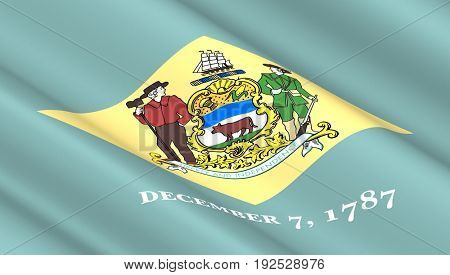 Waving flag of Delaware state. 3D illustration.
