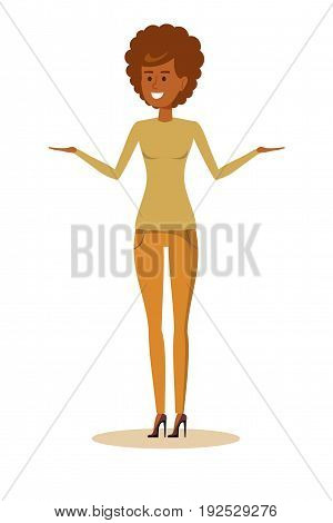 African American woman with curly hair . Stock vector illustration for poster, greeting card, website, ad, business presentation, advertisement design.